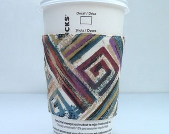 Abstract Square & Dots Coffee Sleeve Cozy Velcro