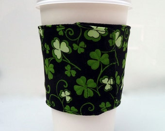 Reversible Coffee Sleeve Green Clovers Cup Cozy Lucky Shamrocks