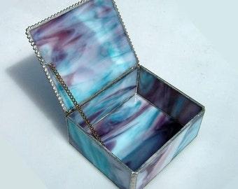 Stained Glass Jewelery Box Aqua Two Fish Motif