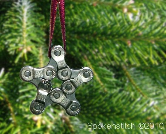 Bike Chain Star Ornament - Choose your ribbon - FREE GIFT WRAPPING