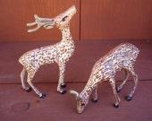 Vintage Detailed Doe and Buck Metal Brass Deer Set
