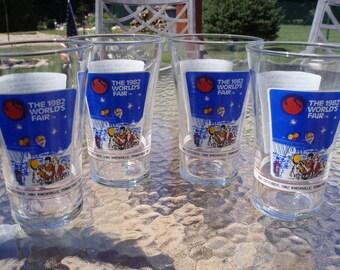Vintage 1982 World's Fair Set of Four Souvenir Beverage Glasses