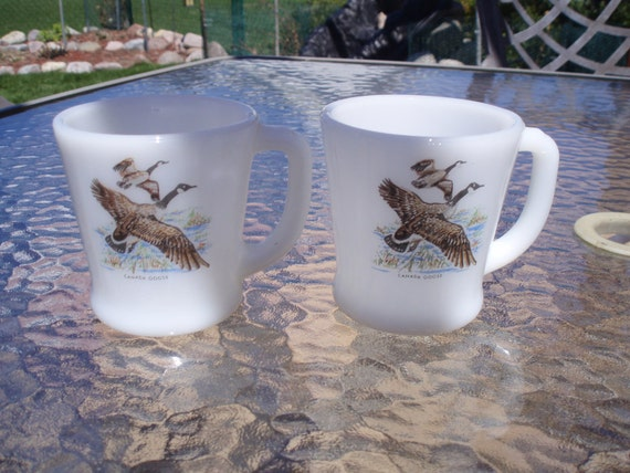Vintage  Pair Fire King D Handle Mugs CANADA GOOSE