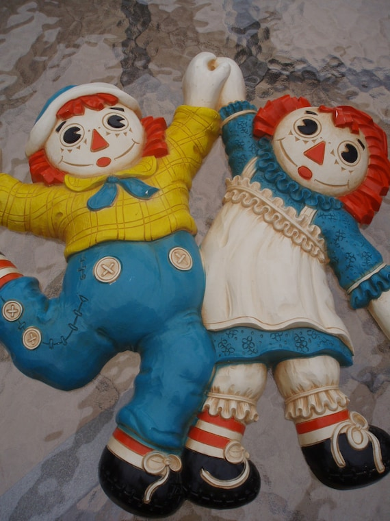 Vintage Raggedy Ann And Andy Wall Plaque 1977