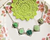 Eris Necklace Flower Cabochon Green Brass Khaki Mint Cute Charm Jewellery by dspdavey on Etsy