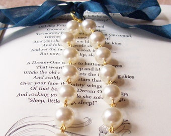 Swarovski Pearl Bridal Necklace, Cream Off White Ivory, Ribbon Wedding Jewelry Jewellery, Gold Two Cheeky Monkeys For Her Bridesmaid Bride