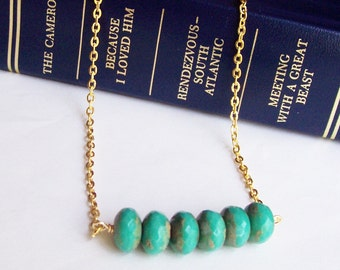 Turquoise Bar Necklace Green Beaded Mystique Picasso Brown Jewellery. Funky Gold Two Cheeky Monkeys Jewelry Handmade. dspdavey For Her Gift