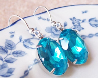 Aquamarine Earrings Aqua Blue Sterling Silver Glam It Up Estate Style Vintage Jewel Wedding Jewelry Jewellery Something Blue Handmade