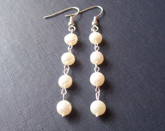 Freshwater Pearl Earrings Bridal - Ivory White Silver Drop - Dangly Bridesmaid Wedding Accessories