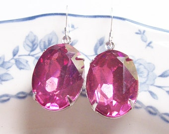 Rose Pink Earrings. Estate Style Sterling Silver Glam It Up. Vintage Glass Jewels Bridal Bridesmaid. Gift Wedding Jewellery Handmade