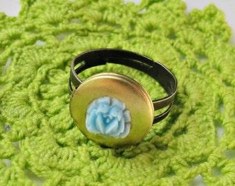 Locket Ring. Hera Secret Keeper. Vintage Brass Locket Rose Flower Blue Cabochon Jewellery Jewelry Two Cheeky Monkeys Trinket Miniature