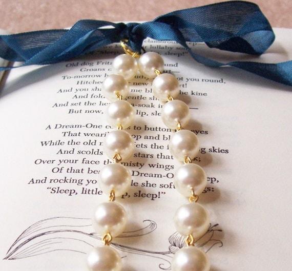SALE Swarovski Pearl Bridal Necklace, Cream Swarovski Crystal Pearl, Ribbon, Wedding Jewelry Jewellery Gold Two Cheeky Monkeys For Her