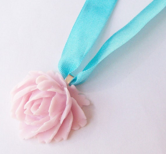Necklace. Pastel Fun. Flower Cabochon. Ribbon. Jewellery by dspdavey on Etsy