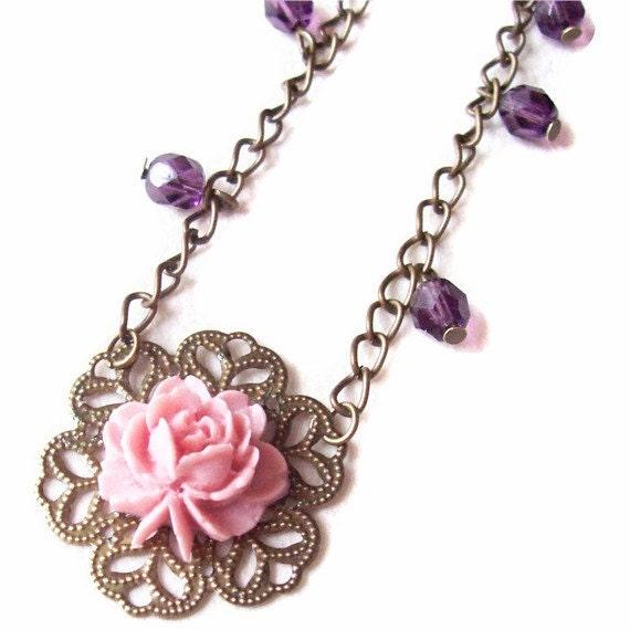 SALE Rosy Posy Necklace, Flower Cabochon, Filigree, Jewellery by dspdavey on Etsy