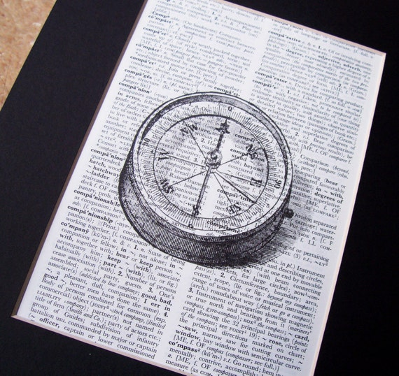 Art Print. Compass. Vintage Dictionary Page. Art by dspdavey on Etsy Repurposed Upcycled Book