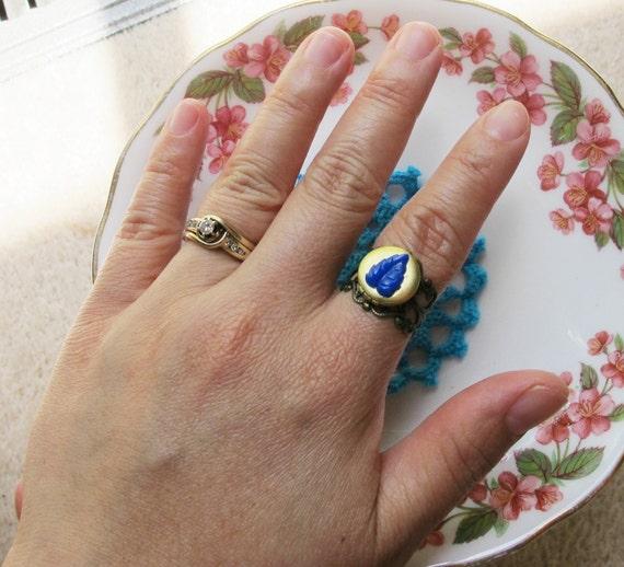 Locket Ring Mnemosyne Secret Keeper Vintage Brass Leaf Cobalt Blue Cabochon Jewellery Jewelry Two Cheeky Monkeys Miniature Sweet Handmade