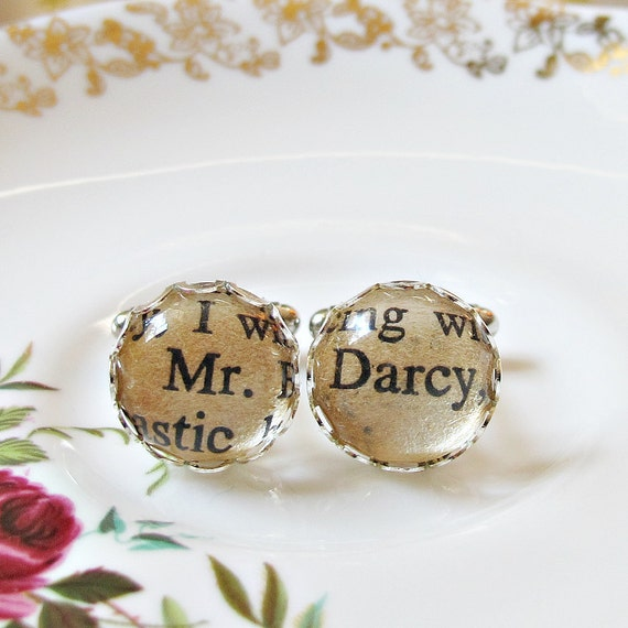 Mr Darcy Cuff Links. Vintage Pride and Prejudice Jane Austen Geekery Wedding Groom Words Text Quote
