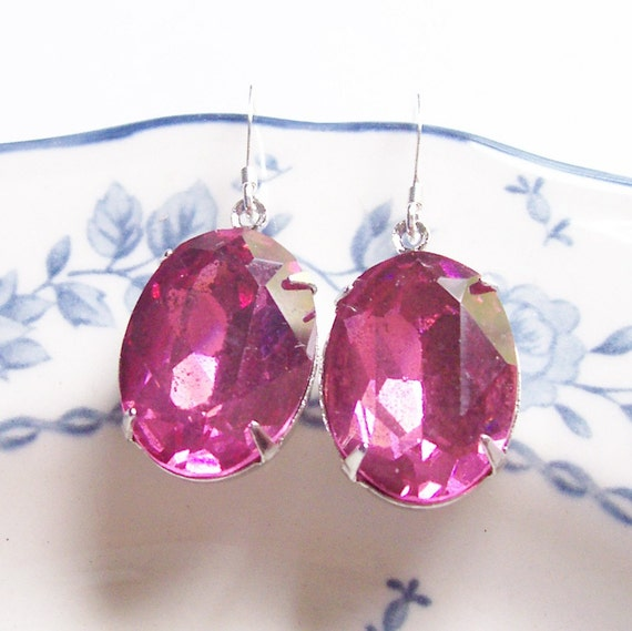 image glam it up earrings rose pink vintage hollywood estate style