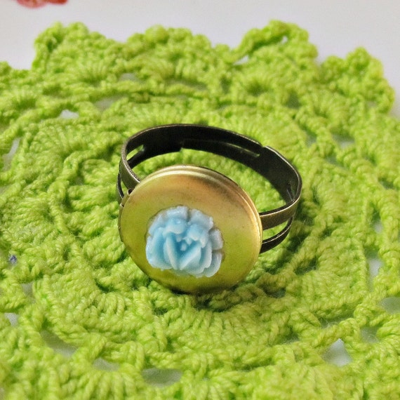 image vintage locket ring hera blue rose cabochon adjustable two cheeky monkeys