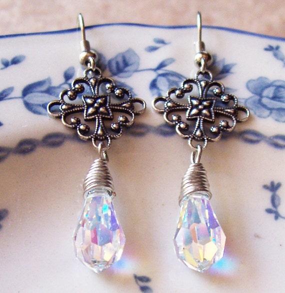 Baikal Earrings. Swarovski Crystal. Filigree. Wedding Jewelry Bridal by dspdavey on Etsy