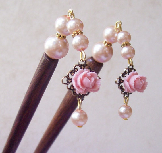 image hair sticks two cheeky monkeys vintage-inspired pink pearls flowers filigree wedding bridal