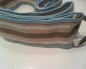 Preppy SAND and SEA Grosgrain Ribbon Belt Blue and Tan