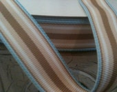 Malibu Brown Blue and White Stripe Grosgrain Ribbon seventh eighth inch width