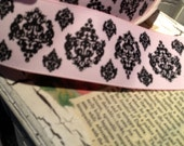 "1.5"" PREPPY PINK DAMASK Grosgrain Ribbon sold by the yard"