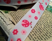 "5 Yards 7/8"" Pink Lady Bug Themed Grosgrain Ribbon"