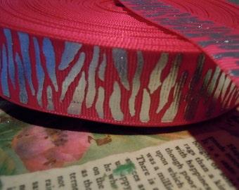 "3 YARDS 1"" Hot Pink and Metallic Silver Zebra Grosgrain Ribbon"