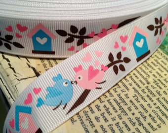 "3 yards Spring LOVE BIRDS Heart Grosgrain Ribbon 7/8"" sold by the yard"