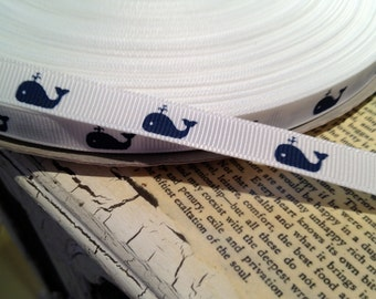 """3/8"""" Preppy NAVY WHALE on White NAUTICAL Grosgrain sold by the yard"""