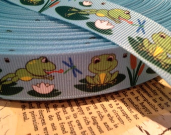 """3 yards 7/8"""" Frogs and Lily pads Grosgrain Ribbon"""