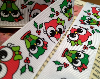 "3 yards 7/8"" Christmas Owl Themed Grosgrain Ribbon Red and Green"