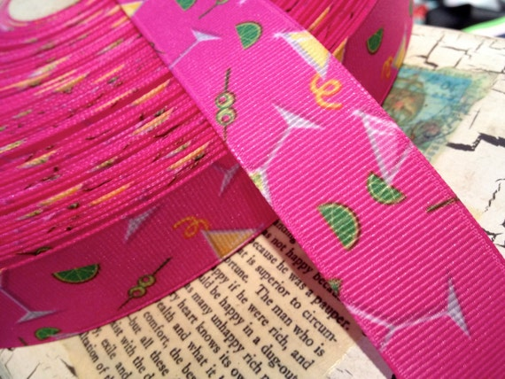 "7/8"" Martini Cocktail Pink Grosgrain Ribbon sold by the yard"