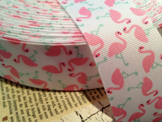 "1.5"" PINK FLAMINGOS on WHITE Grosgrain Ribbon sold by the yard"