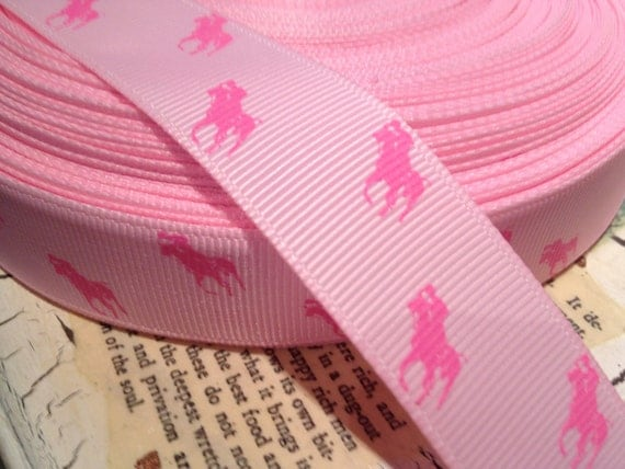 """3 YARDS 7/8"""" Pink Polo Horses on PINK Grosgrain"""