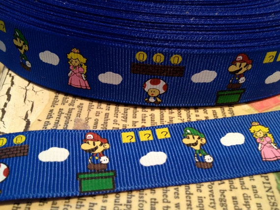 """7/8"""" Super Mario Insired Grosgrain Ribbon Bows sold by the yard"""