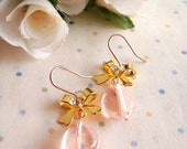 Vintage Czech Pink Translucent Bead and Ribbon Bow 14k Gold Plated Earrings