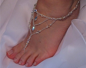 barefoot sandal beach bridal jewelry beaded bridal sandal bridal foot jewelry beach wedding sandal gift for
