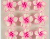 10 PCS DeepPink Fimo Polymer Clay White Petals Plumeria Flower Beads 30mm