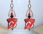 New Jersey Devils Earrings, Hot On The Ice Red and Black Crystal Chandelier Earrings, NJ Devils Hockey Bling, Hockey Accessories