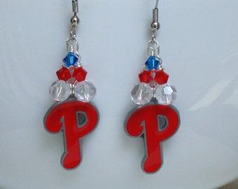 Philadelphia Phillies Earrings, Phillies Accessory, Red, White and Blue Pro Baseball Earrings, Sports Jewelry, Baseball Bling