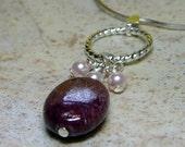 Pendant - Rhodonite Gemstone and Swarovski Crystal Pearls