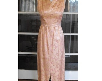 Vintage Pink and Gold Lace Brocade Vogue Origionals Film Noir Mermaid Party Dress sz S