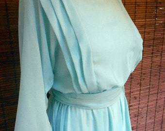 Vintage Deadstock Mint Sheer Spring Disco Midi Dress L