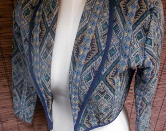 Vintage Blue South Western Tribal Woven Cropped Jacket S- M