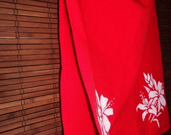 Vintage Red A line High Side Slit Tropical Printed Midi Skirt XS-S Free shipping