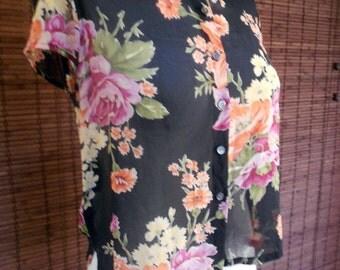 Vintage 90s Sheer Silk  Floral Burst Cropped Blouse M/L