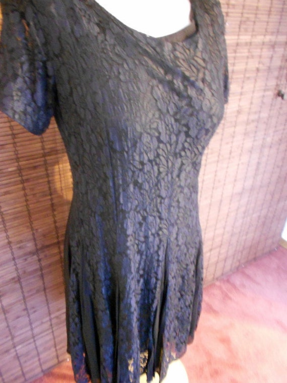 Vintage Black Semi Sheer Lace and Crepe Style Flapper Dress M-L